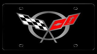 Corvette C5 97-04 Stainless License Plate - C5 Crossed Flags Black