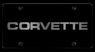 Corvette C4 84-96 License Plate - C4 Lettering Black