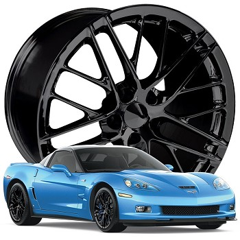 Corvette C6 ZR1 Style Wheels Set 05-13 Gloss Black 18x9.5/19x10