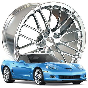 Corvette C6 05-13 ZR1 Style Corvette Wheels Set  Chrome 19x10/20x12