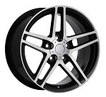 Corvette C6 Z06 Style 05-13 Black With Machined Face Wheel Set 18x9.5/19x12
