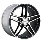 Corvette C6 05-13 Z06 Style Motorsport Wheels Set - Black with Machined Face 18x9.5/19x12