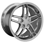 Corvette C6 2005-2013 Z06 Style Wheels (Set): Chrome 18x8.5/19x10