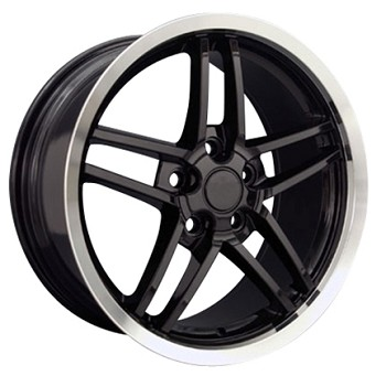 Corvette C6 2005-2013 Z06 Style Wheels (Set): Black With Polished Lip 18x8.5/19x10