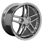 Corvette C6 2005-2013 Z06 Style Wheels (Set): Chrome with Rivets 18x18.5/19x10