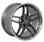 Corvette C6 2005-2013 Z06 Style Wheels (Set): Gunmetal With Polished Lip & Rivets 18x8.5/19x10
