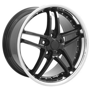 Corvette C6 2005-2013 Z06 Style Wheels (Set): Black With Polished Lip & Rivets 18x8.5/19x10