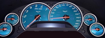 Corvette C6 Base/ZR1/Z06 Gauge Face Plate Speedo Replacements - Aqua Edition