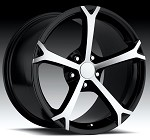 Corvette C5/C4 97-04 84-96 Fitments  2010 Grand Sport Style Corvette Wheels Black w/ Machined Face Set 18x8.5/19x10