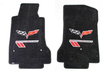 C6 Lloyds Corvette Velourtex Front Floor Mats Grand Sport  Logo & Cross Flags