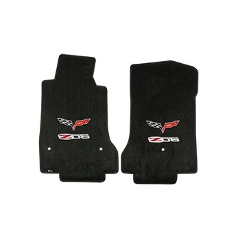 C6 Lloyds Corvette Velourtex Front Floor Mats Z06 Logo & Crossed Flags