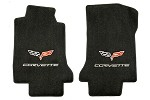 C6 Lloyds Corvette Front Velourtex Floor Mats - Logo and Lettering