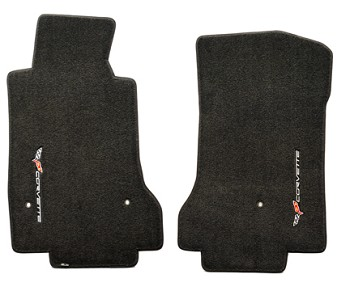C6 Lloyds Corvette Velourtex Front Floor Mats -Sideways Logo