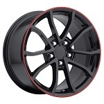 2013 Corvette 427 Centennial Special Edition Cup Style Wheels (Set) Gloss/Satin Black w/Stripe 18x8.5 / 19x10 2006-2013 C6 Corvette