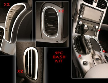 Corvette C6 9 Piece Stainless Interior Dash Trim Kit