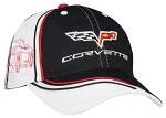 Corvette C6 Twill Cap, Black, With White Side Panels