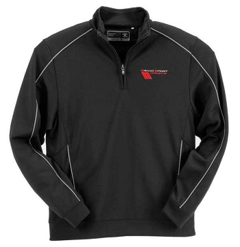 Black Corvette Grand Sport Pullover, Half Zip DryTec, Cutter & Buck