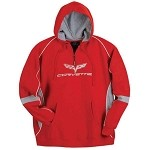 Corvette C6 Hooded Sweatshirt, Pull-Over, Red/Gray