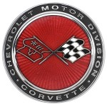 1973-1976 C3 Corvette Crossed Flags Cloisonne Nose Emblem, Reproduction