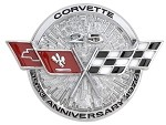 "1978 C3 Corvette 25th Anniversary Nose Emblem, has 2 locating pins 2.5"" apart and adhesive backing.(GM)"