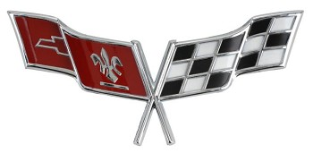 "1977,1979 C3 Corvette Crossed Flags Nose Emblem, has 2 locating pins 2.5"" apart and adhesive backing. (GM)"