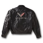 C3 C5 C7 Corvette Stingray 1968-2014+ Mens Leather Bomber Jacket w/ Corvette Lettering