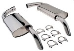 1974-1982 C3 Corvette Polished Stainless Steel Mufflers for 2.5
