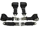 1974-75 C3 Corvette Convertible Seat Belts, Dual Retractors, OE Style, Pair