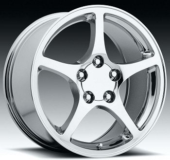 C4 84-96 2000 Style Chrome Wheel Set 17x8.5/18x9.5