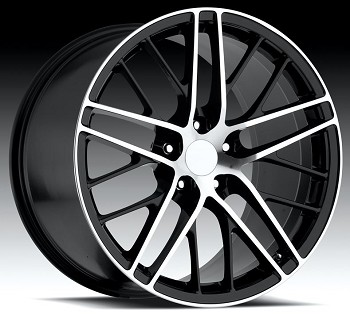 Corvette C6 05-13 ZR1 Style Wheels Black/Machined Face Set 19x10/ 20x12