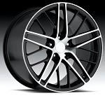 Corvette C6 05-13 ZR1 Spyder Style Wheels Black/Machined Face Set 18x8.5/19 x10