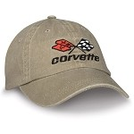 C3 Corvette 1968-1982 Crossflags Logo Unconstructed Cap - Denim, Black, Khaki