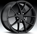 Corvette C6 05-13 Gloss Black Spyder Style Wheels Set 18x9.5/19 x 10