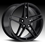 Corvette C6 97-13 Z06 Style Gloss Black Wheel Set 18x9.5/19x10