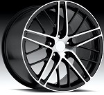 "Corvette C5/C4 97-04 84-96 Fitments ZR1 Spyder Style Wheels Black/Machined Face Set Of 4 17x8.5""/18x9.5"""