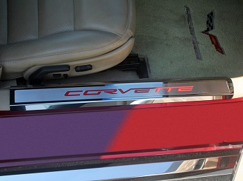 "2005-2013 C6 Corvette Doorsills Executive Series Polished/Brushed Inner with ""Corvette"" Colored Carbon Fiber Inlay"