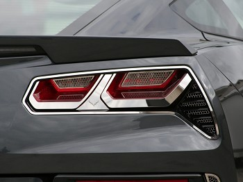 Corvette C7 Stingray/Z06 2014+ Tail Light Bezels - with Emblems