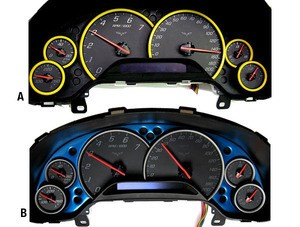 C6 05-13 Corvette Dash Gauge Bezels & Corvette Gauge Plates Paint Matched