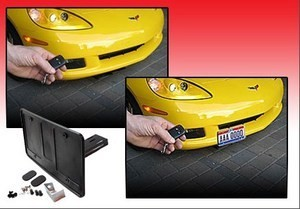 C5 C6 Base / Z06 ZR1 / Grand Sport Corvette 97-13 Retractable Front License Plate Bracket - Powered! SHOW N GO