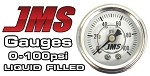 Universal Corvette 1968-2014+ JMS Performance 0-100 PSI Fuel or Oil Pressure Gauge - White