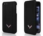 C7 Corvette Stingray/Z06 2014+ Black Leather Phone Case w/ Crossed Flags - iPhone 6 / 6 Plus