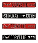C6 C7 Corvette 2005-2014+ Street Signs - Black or Red Background