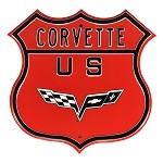 C6 Corvette 2005-2013 US Route Logo Sign