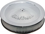 C3 Corvette 1968-1982 Edelbrock Chrome / Black Round Air Cleaners - 10in / 14 in Options