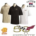 C5 50th Anniversary Embroidered Men's Cutter & Buck Ace Polo