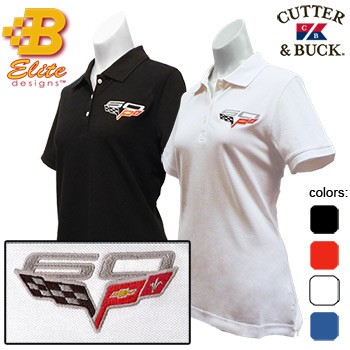 C6 60th Anniversary Embroidered Ladies Cutter&Buck Ace Polo