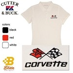C3 Corvette Embroidered Ladies Cutter & Buck Ace Polo Shirt