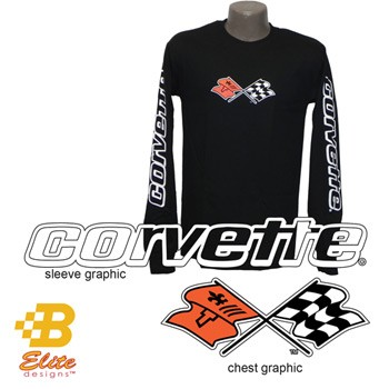 C3 C4 Corvette Black Long Sleeved Shirt w/Script on Sleeves