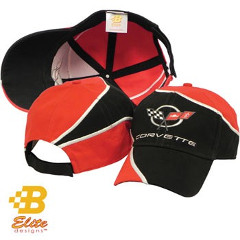 C5 Embroidered Red and Black Swirl Corvette Hat