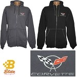 C5 C6 Logo Corvette & Grandsport Emblem Full Zip Heavyweight Hooded Sweatshirt
